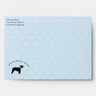 Boston Terrier, white diamonds on blue A7 Envelope