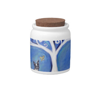 Boston Terrier White Tree of Life Candy Jars