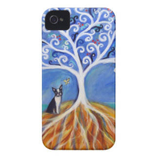 Boston Terrier White Tree of Life iPhone 4 Case