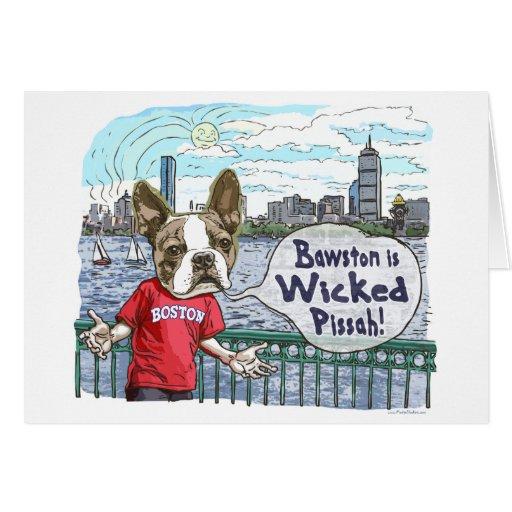 Boston Terrier Wicked Pissah Gear Greeting Card