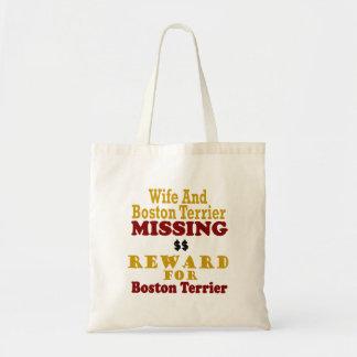 Boston Terrier & Wife Missing Reward For Boston Te Canvas Bags