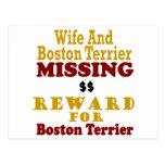 Boston Terrier & Wife Missing Reward For Boston Te Postcard