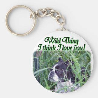 Boston Terrier:  Wild Thing Basic Round Button Keychain