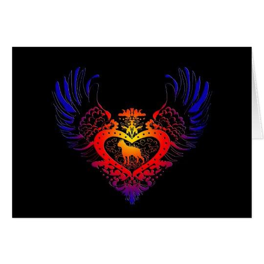 Boston Terrier Winged Heart Card