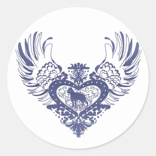 Boston Terrier Winged Heart Classic Round Sticker
