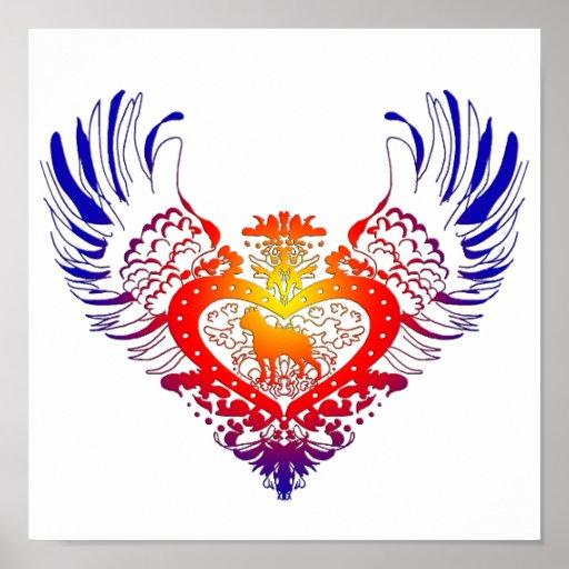 Boston Terrier Winged Heart Poster