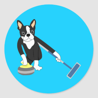Boston Terrier Winter Olympics Curling Classic Round Sticker