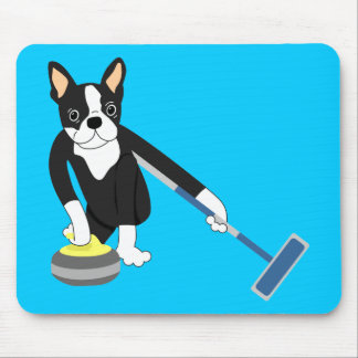 Boston Terrier Winter Olympics Curling Mouse Pad