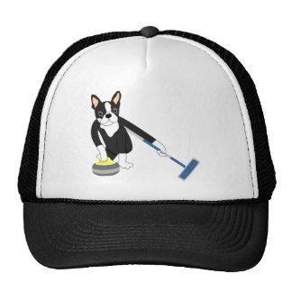 Boston Terrier Winter Olympics Curling Trucker Hat