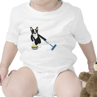 Boston Terrier Winter Olympics Curling Baby Bodysuits