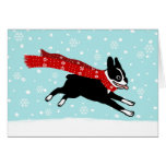Boston Terrier Winter Snow Holiday Greeting Cards