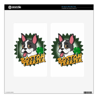 Boston Terrier with a four leaf clover Kindle Fire Skin