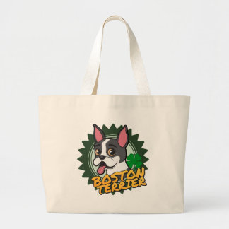 Boston Terrier with a four leaf clover Large Tote Bag