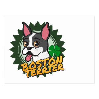 Boston Terrier with a four leaf clover Postcard