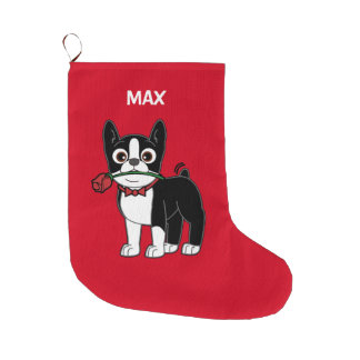 Boston Terrier with a Rose Large Christmas Stocking