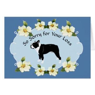 Boston Terrier with Blue Dogwood Sympathy Card