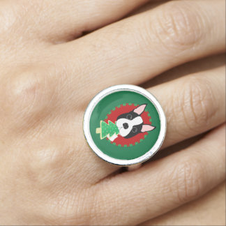 Boston Terrier with Christmas Tree Cookie Ring