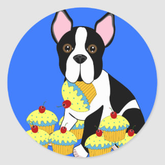 Boston Terrier with Cupcakes Party Stickers