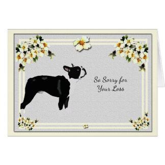 Boston Terrier with Dogwood Sympathy Card