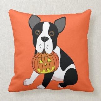 Boston Terrier with Jack O' Lantern Throw Pillow