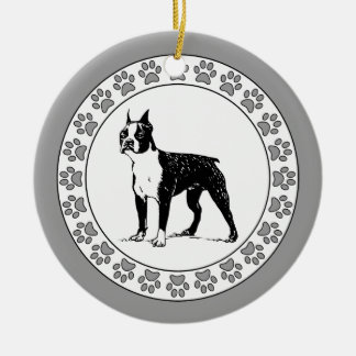 Boston Terrier with Pawprints Ceramic Ornament