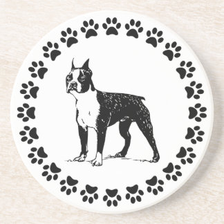 Boston Terrier with Pawprints Beverage Coaster