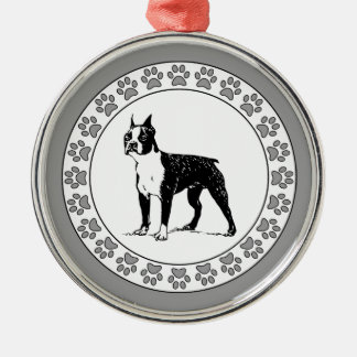 Boston Terrier with Pawprints Metal Ornament