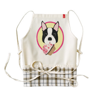 Boston Terrier with Pink and Hearts Cupcake Apron Zazzle HEART Apron