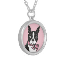 Boston Terrier with Pink Bow Tie Necklace