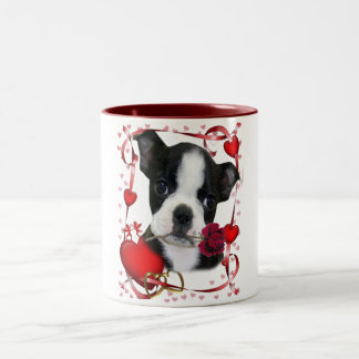 Boston Terrier with Rose Frame Two-Tone Coffee Mug