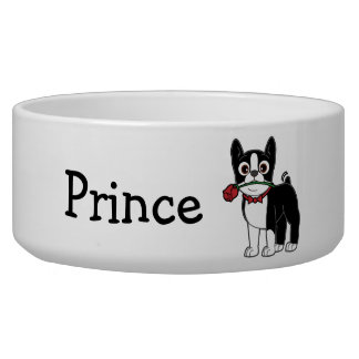 Boston Terrier with Rose Name Customizable Bowl