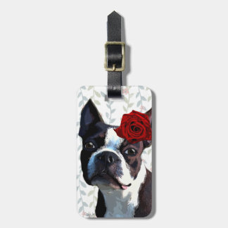 Boston Terrier with Rose on Head 2 Bag Tag