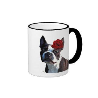 Boston Terrier with Rose on Head 2 Ringer Mug