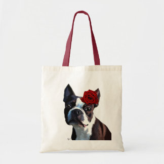 Boston Terrier with Rose on Head 2 Tote Bag
