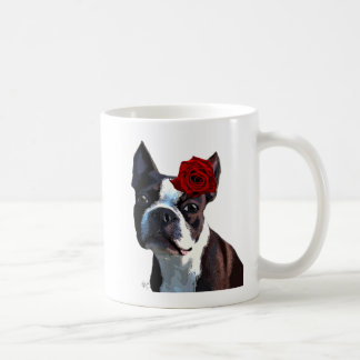 Boston Terrier with Rose on Head Coffee Mug
