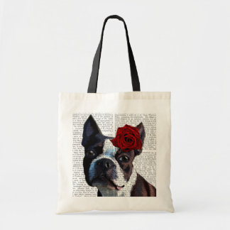Boston Terrier with Rose on Head Tote Bag
