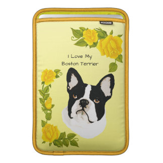 Boston Terrier with Yellow Rose Sleeve For MacBook Air