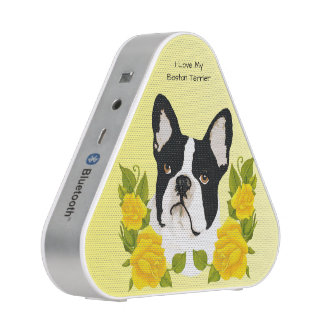 Boston Terrier with Yellow Roses Bluetooth Speaker