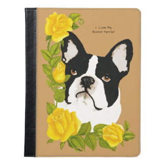 Boston Terrier with Yellow Roses iPad Case