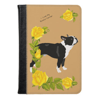Boston Terrier with Yellow Roses Kindle Case