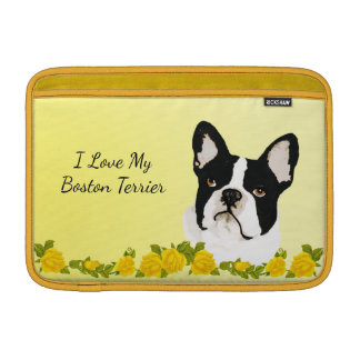 Boston Terrier with Yellow roses MacBook Sleeve