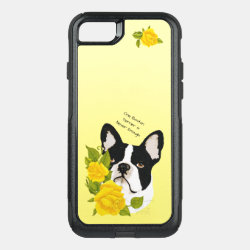 Boston Terrier, with Yellow Roses OtterBox Commuter iPhone 8/7 Case