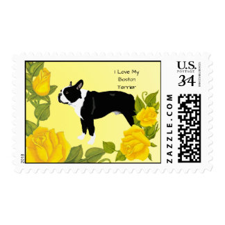 Boston Terrier with Yellow Roses Postage