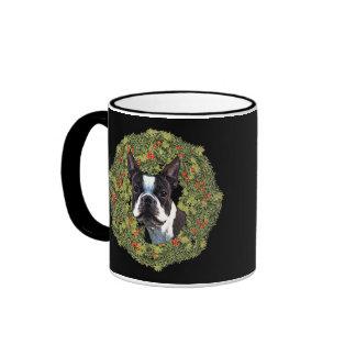 Boston Terrier Wreath Mugs