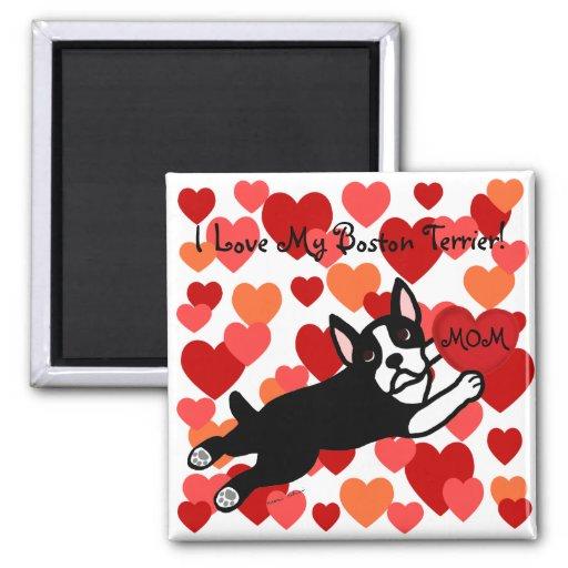 Boston Terrier y dibujo animado rojo del corazón Imán Para Frigorifico