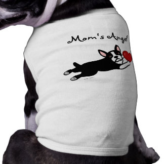 Boston Terrier y dibujo animado rojo del corazón Playera Sin Mangas Para Perro