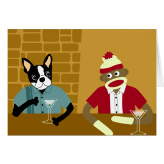 Boston Terrier y mono del calcetín Tarjeta De Felicitación