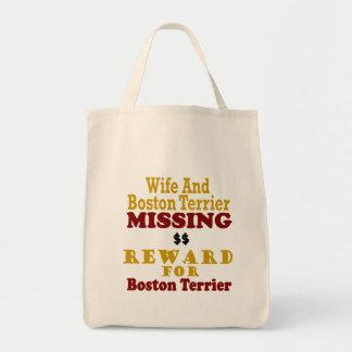 Boston Terrier y recompensa que falta de la esposa Bolsa