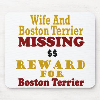 Boston Terrier y recompensa que falta de la esposa Alfombrilla De Ratones
