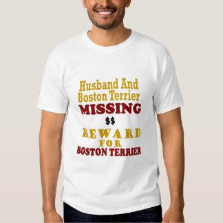 Boston Terrier y recompensa que falta del marido Camisas